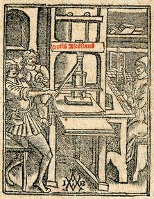 Marque typographique de Josse Bade (détail), Scripta oxoniensia in quatuor Sententiarum libros. Paris, Josse Bade, 1519.